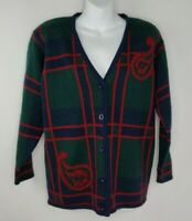 Pendleton Petite Green Blue Red 100% Wool Button Cardigan Sweater Sz L