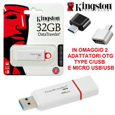 PENDRIVE USB 3.1 KINGSTON G4 3.0 CHIAVETTA 16 32 64 128 GB + TYPE C + MICRO USB