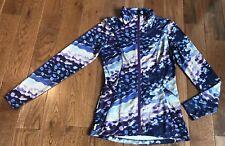 Women's LOLE Full Zip Jacket Wicking UPF 50+ Ruched Neck Blue Purple White XS