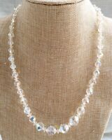 """Vtg Faceted, Graduated AB Aurora Borealis Glass Beaded Necklace, 20"""" - 22-1/2"""""""