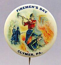 """c.1910 FIREMEN'S DAY CLYMER PENNSYLVANIA 1.25"""" pinback button HIGH GRADE +"""