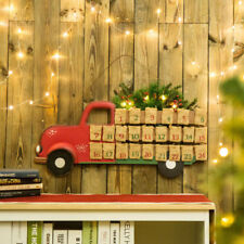 Glitzhome Wooden Lighted Christmas Truck Countdown Advent Calendar Hanging Decor