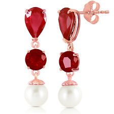 14k Solid Gold Chandelier Earrings With Rubies & Pearls