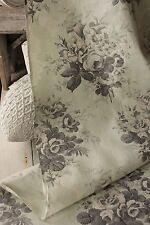 Fabric Antique French printed chintz cotton mint green floral circa 1850 31x115