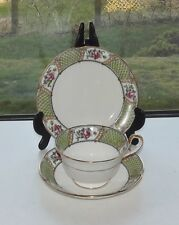 Aynsley Art Nouveau China A4238 Pink Rosebud Green Border Trio Cup Saucer Plate