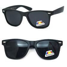 Polarized Men Women Classic Square Frame Spring Hinge Sunglasses - Matte Black