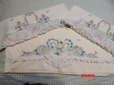 New listing Vtg Cannon Percale Flat Sheet & 2 Pillowcases Set Southern Belles embroidery