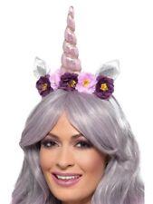ADULT LADIES MAGICAL UNICORN COSTUME HEADBAND HORN EARS FLOWER FAIRYTALE PURPLE