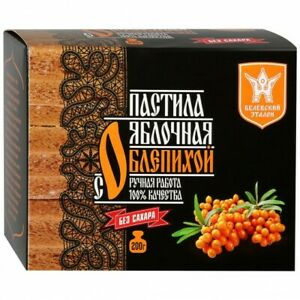 Russian Natural Apple Dessert Pastille  with Sea Buckthorn WITHOUT SUGAR 200 g.