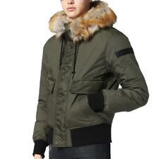 DIESEL Jeans Galt Padded Fur Jacket - Olive Green Bomber Coat