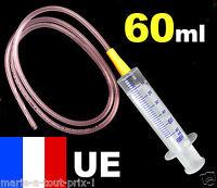 Grosse Seringue 60ml + grande rallonge tuyau plastique transparent ⌀ AU CHOIX !