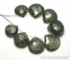 8 pcs NATURAL MOSS AQUAMARINE 13-15mm Faceted Teardrop Beads /T8