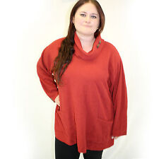 NWT Margaret Winters Crunchy Cotton Long Cowl Neck Sweater Blouse Bittersweet 3X