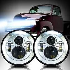 DOT Pair 7inch Round LED Headlight Chrome Hi/Lo Beam for Chevy Pickup Truck 3100