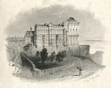 Antique French Print, Château / Castle, Signed Jean-Louis Tirpenne, 19th century