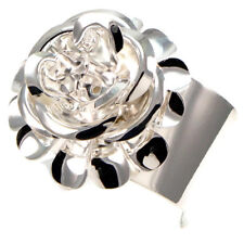 Silver Red Carpet Dimensional 3D Rose Floral Flower Corsage Catwalk Bangle Cuff