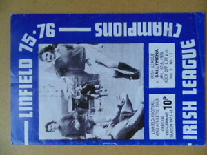 LINFIELD  v  BALLYMENA 1975/76  IRISH LEAGUE