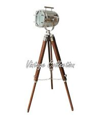 Vintage Hollywood Studio Spot Light Wooden Tripod LED Decor Styles Floor Lamp
