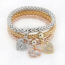 Women's Fashion Jewelry 3 Piece Silver Rose Gold Heart Bangle Bracelet 53-2