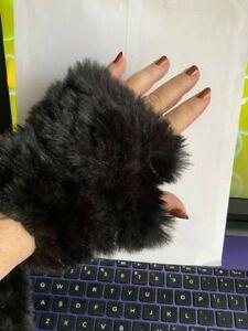 NWT Nordstrom Jocelyn Women's Knit Faux Fur Fingerless Mittens Black OS