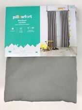 "Pillowfort Twill Gray Blackout Curtain Panel 42""W x 84""L Blocks 99.9"" Sunlight"