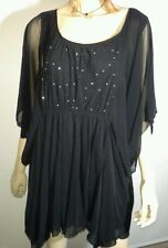 AUTOGRAPH Size 24 BLACK Fine China Batwing Stud Tunic Top NEW with tags $69.99