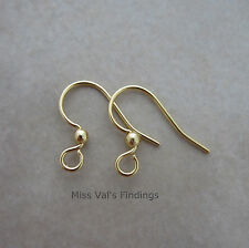 12 gold sensitive surgical steel fishhook hook ear wires earrings 21g with ball