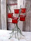 VINTAGE METAL TREE & RED GLASS CANDLE HOLDER HOME & GARDEN VOTIVE OR TEA LIGHT