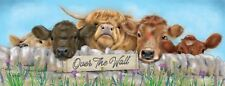 New 40x15cm Over The Wall cow & calf metal wall sign
