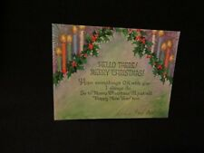 Vintage Art Deco Holly And Candle Christmas Card 1930S