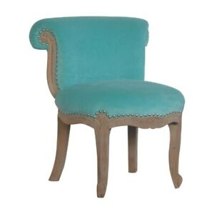 AF Range Solid Wood Carved Velvet Studded Petite Occasional Chairs Cabriole Legs