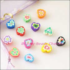 25Pcs Mixed Handmade Polymer Fimo Clay Heart Flat Spacer Beads Charms 8 mm