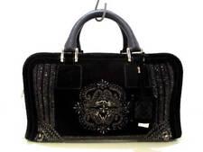 Auth LOEWE Amazona Black Suede &  Leather Rhinestones Beads Handbag