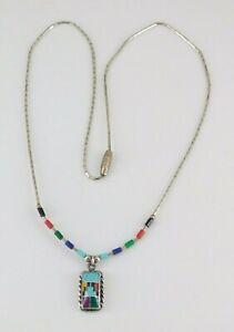 "925 Sterling Silver Liquid Silver Multi Stone Necklace 16"" Long"