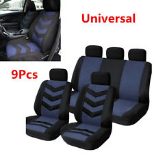 9Pcs Breathable and Cool Auto Car Seat Cover Full Seat Mat Pad Protector Blue