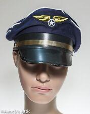 Pilot Cap Navy Blue Cotton Military Style Uniform Costume Hat O S Adjustable
