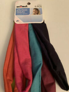 Scunci Headband 6PC , Black,Green,Orange,light Blue, Pink Purple