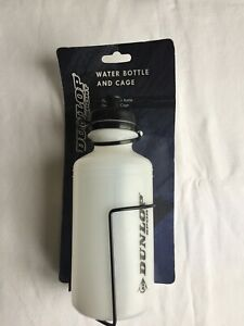 DUNLOP WHITE SPORT 500ML WATER BOTTLE AND CAGE, CYCLING, FITNESS, BIKES, NEW