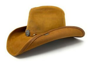 Stetson Leather Roxbury Pinch Front Cowboy Hat in Rust sz:Small