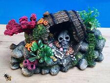 Ornamento de Acuario Cráneo Decoración de barril Coral peces tanque Rock Nuevo