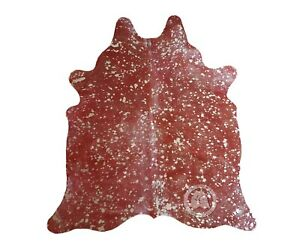 New Brazilian Cowhide Rug Devore METALLIC SILVER ON RED 6'x8' Cow Leather