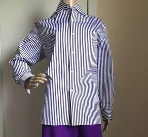 New $590 Ralph Lauren Purple Label Women's Shirt Purple/White Size 8 Italy