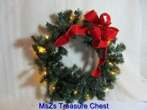 """Holiday Decorated 16"""" dia WREATH w Lights,  In or Outdoor Use, Batt Incl * NEW *"""