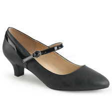 Pleaser Fab-425 Black Faux Leather-patent Kitten Heel Mary Jane Pump Casual 12