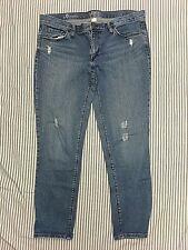 Ann Taylor Loft Womens 8 boyfriend distressed jeans stretch denim w 37.5 L 27.5