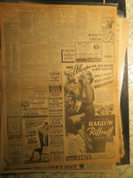 Movie Star Jean Harlow Newspaper Ad RIFRAFF  + LILLY PONS I DREAM TOO MUCH