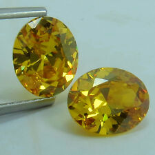 15.55 ct Brilliant Bell Yellow Diamond Lab Created Pair Oval Gemstone 12x10 mm
