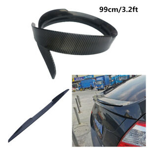 Glossy Carbon Look Rear Tail Spoiler Trunk Lip Universal Soft Wing Fit For Car