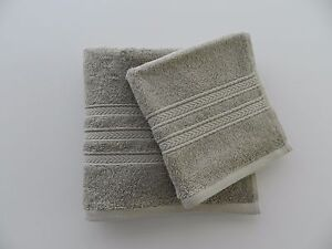 NWT Ralph Lauren Carlisle Hand Towel and Washcloth 2 Pc Set Cotton Grey Pearl