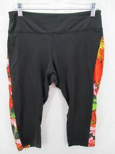 Lularoe Jades Size Large Black Red Pink Floral Capri Length Workout Pants